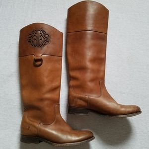 Frye monogram boots brown leather 7.5